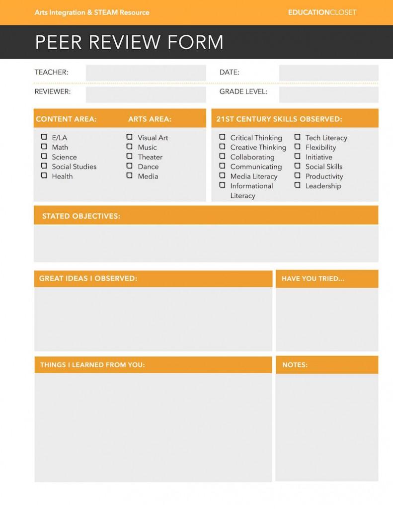 Arts Integration Peer Review Form