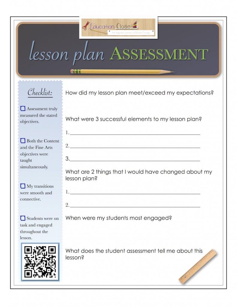 downloadable template  lesson plan assessment
