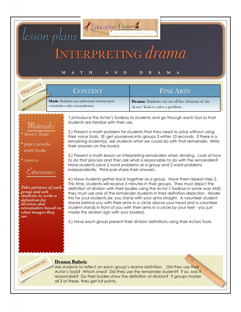 Downloadable Drama And Math Lesson NEW EducationCloset - 21st century lesson plan template