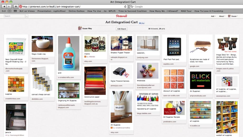 Arts Integration Pinterest board, Education Closet