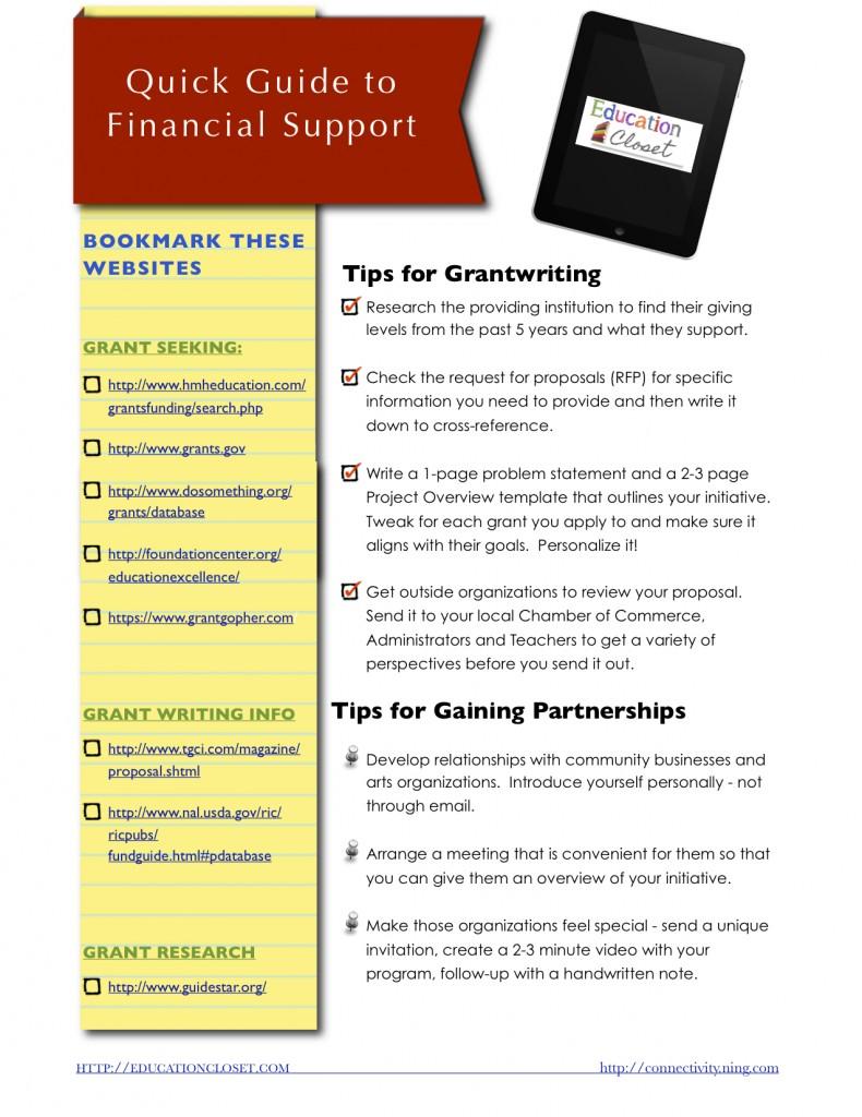 Free Grantwriting Quick Start Guide, Education Closet
