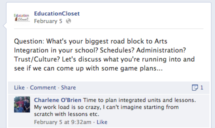 Facebook question, Finding the Time to Integrate, Education Closet