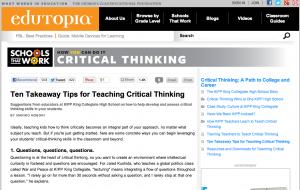 critical thinking, Unpack Thinking. Education Closet
