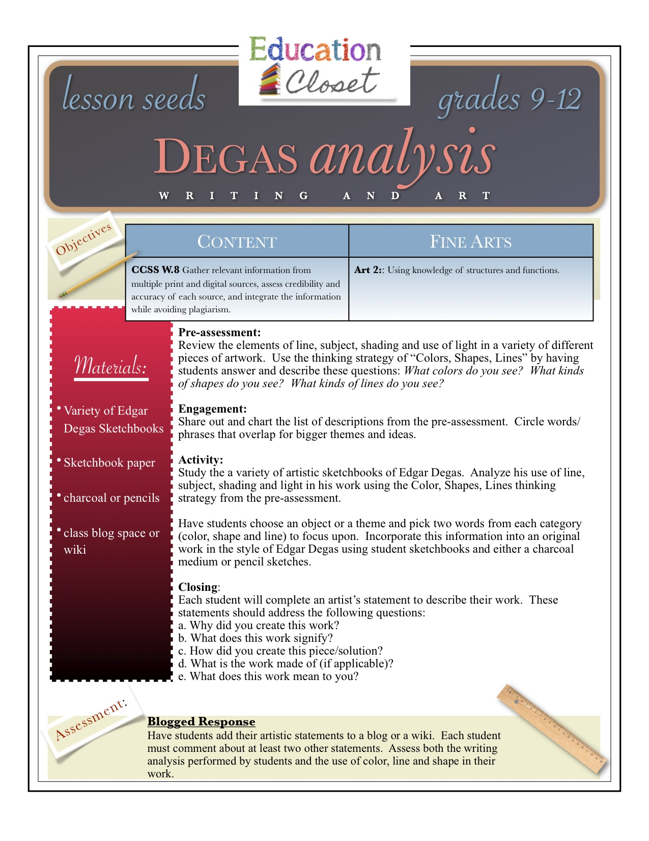 Degas Analysis This Lesson Focuses On The Elements Of Visual Art Through  The Masterworks Of Degas Stem And Leaf Plot