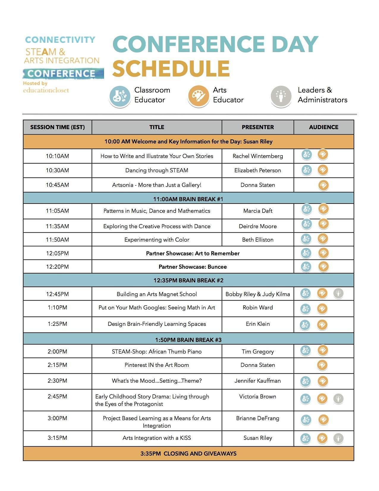 2015 Summer Conference Schedule Released Education Closet