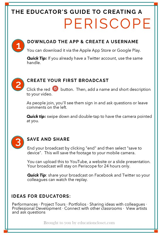 Creating and Viewing a Periscope for Educators, Education Closet