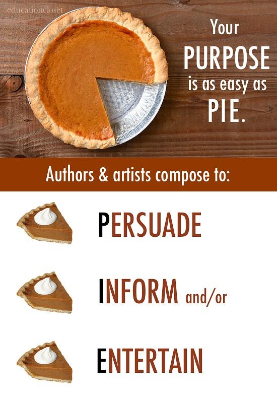Author's Purpose is Easy as PIE, Education Closet