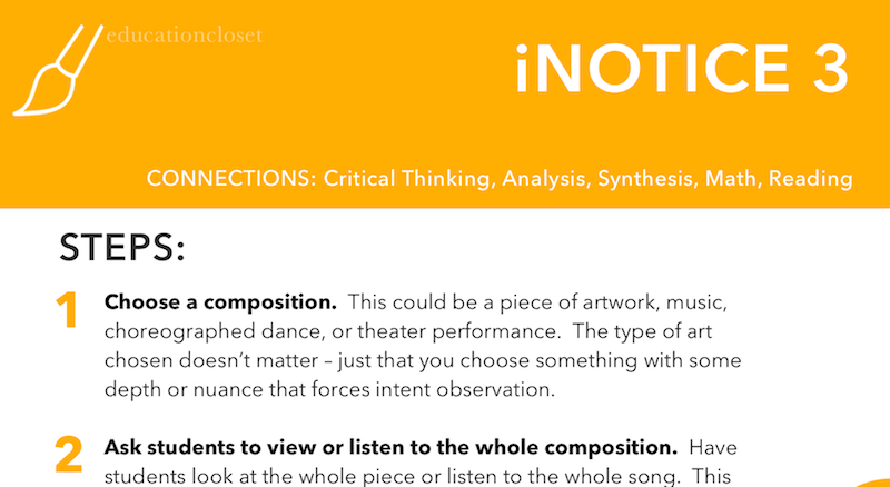 iNotice3 Strategy, Arts Integration Strategy, Education Closet