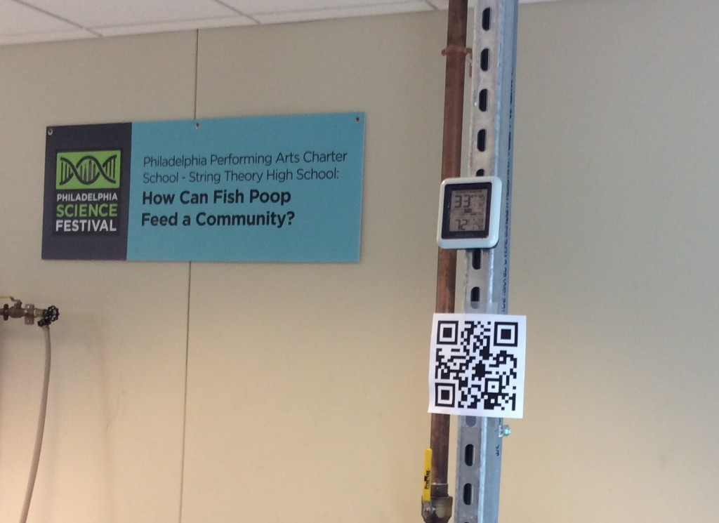 The posted QR code takes you to information on the project and student work.