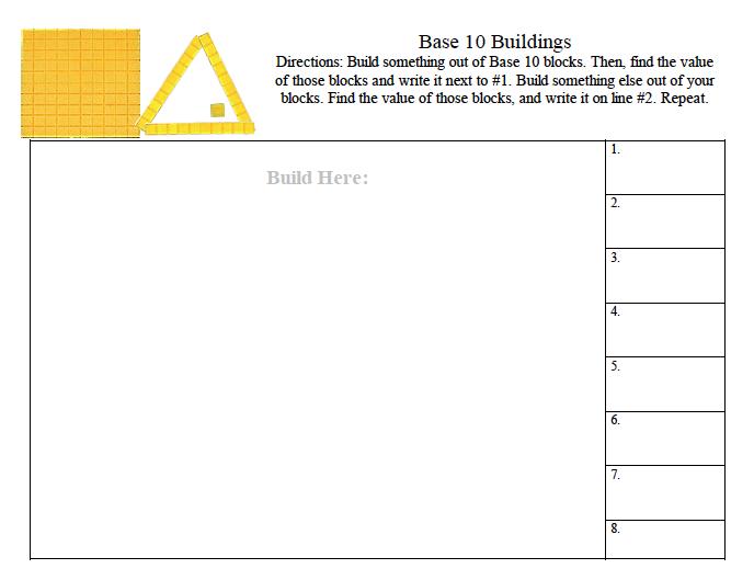 Base Ten Buildings, Education Closet