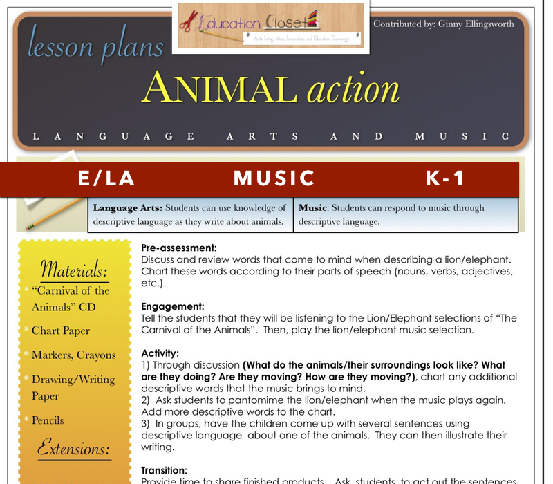 Lesson Plan Of The Week Animal Action Art Integration Educationcloset
