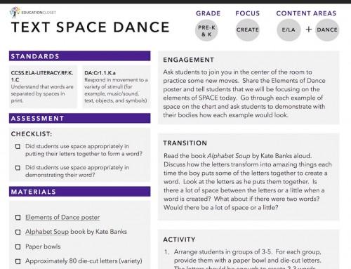 Text Space Dance Arts Integration Lesson