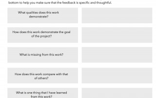 Student feedback form for assessment