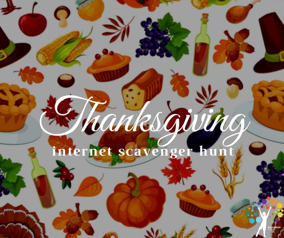 Thanksgiving Internet Scavenger Hunt, Education Closet