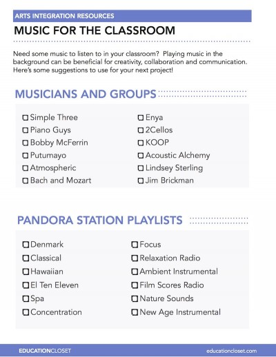 classroom music playlist ideas