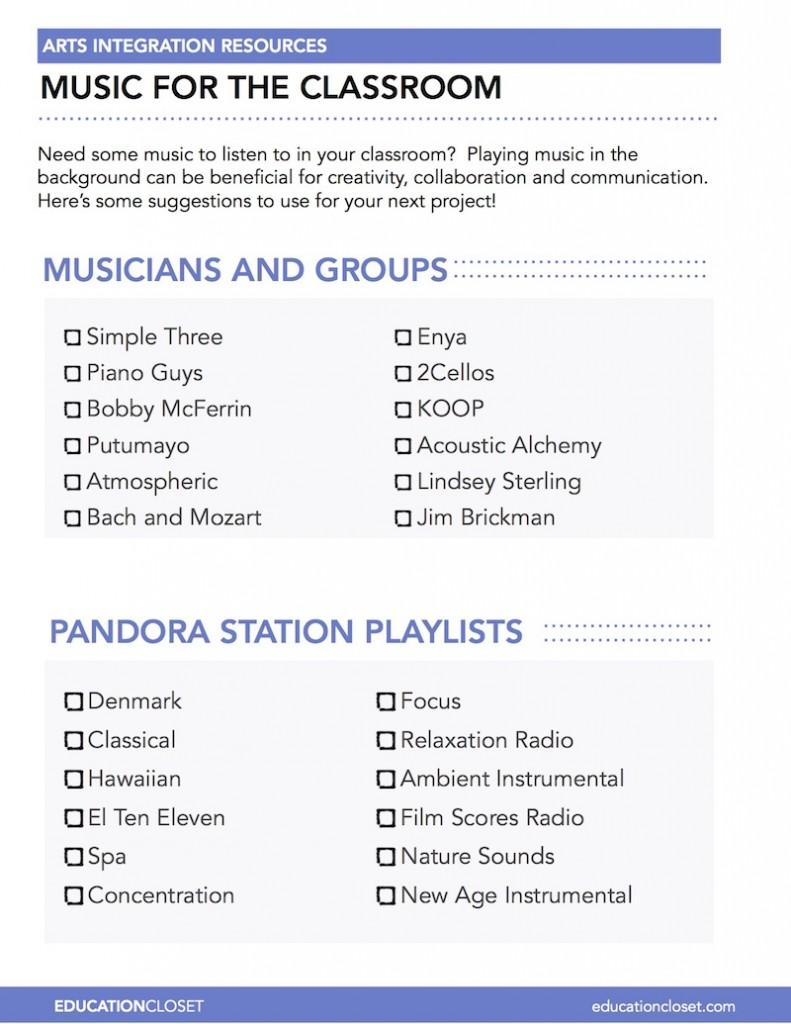 classroom music playlist ideas