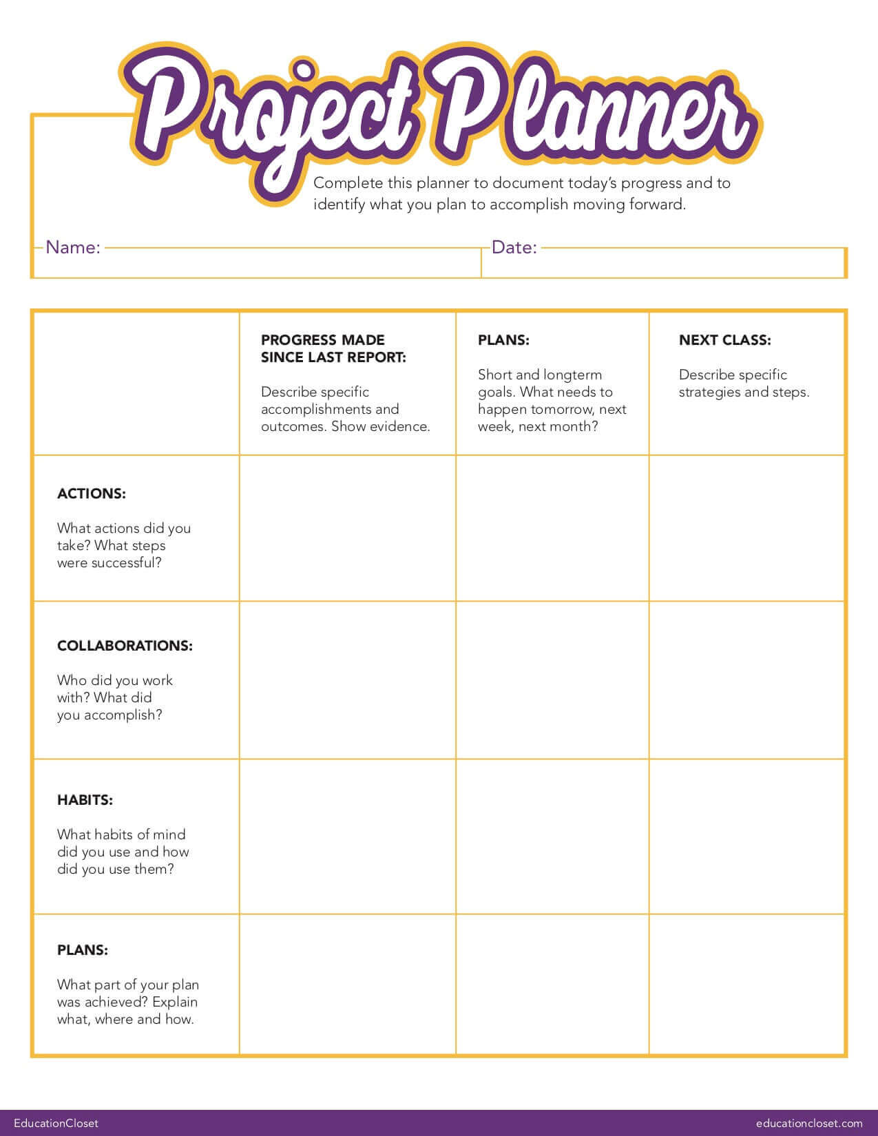 Project Log Formative Assessment