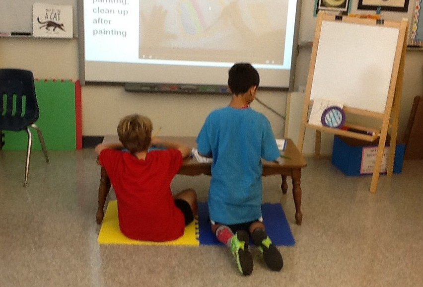 Students using flexible seating in the classroom