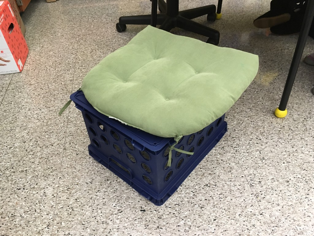 Using crates for flexible seating