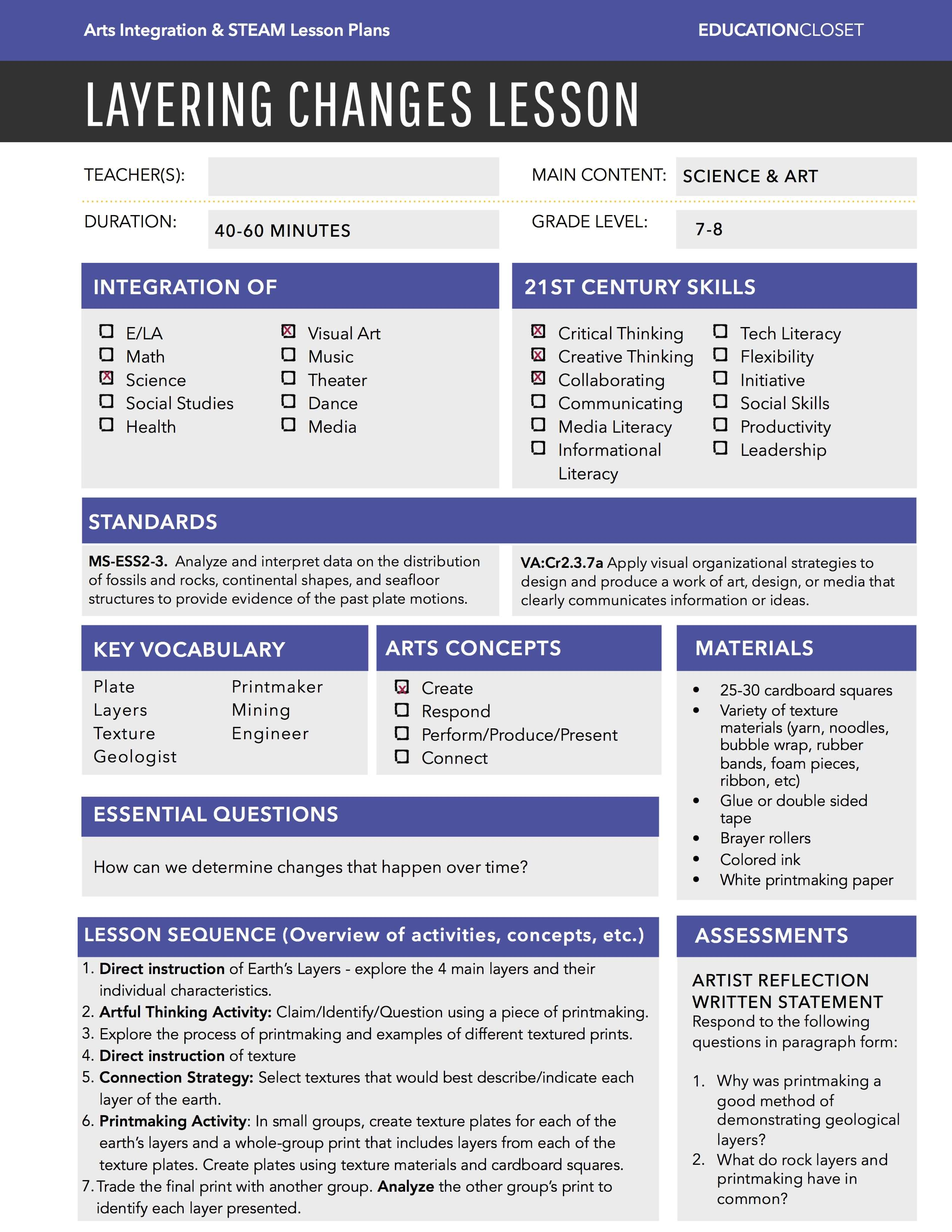 Arts Integration Lesson Plans EducationCloset - 21st century lesson plan template