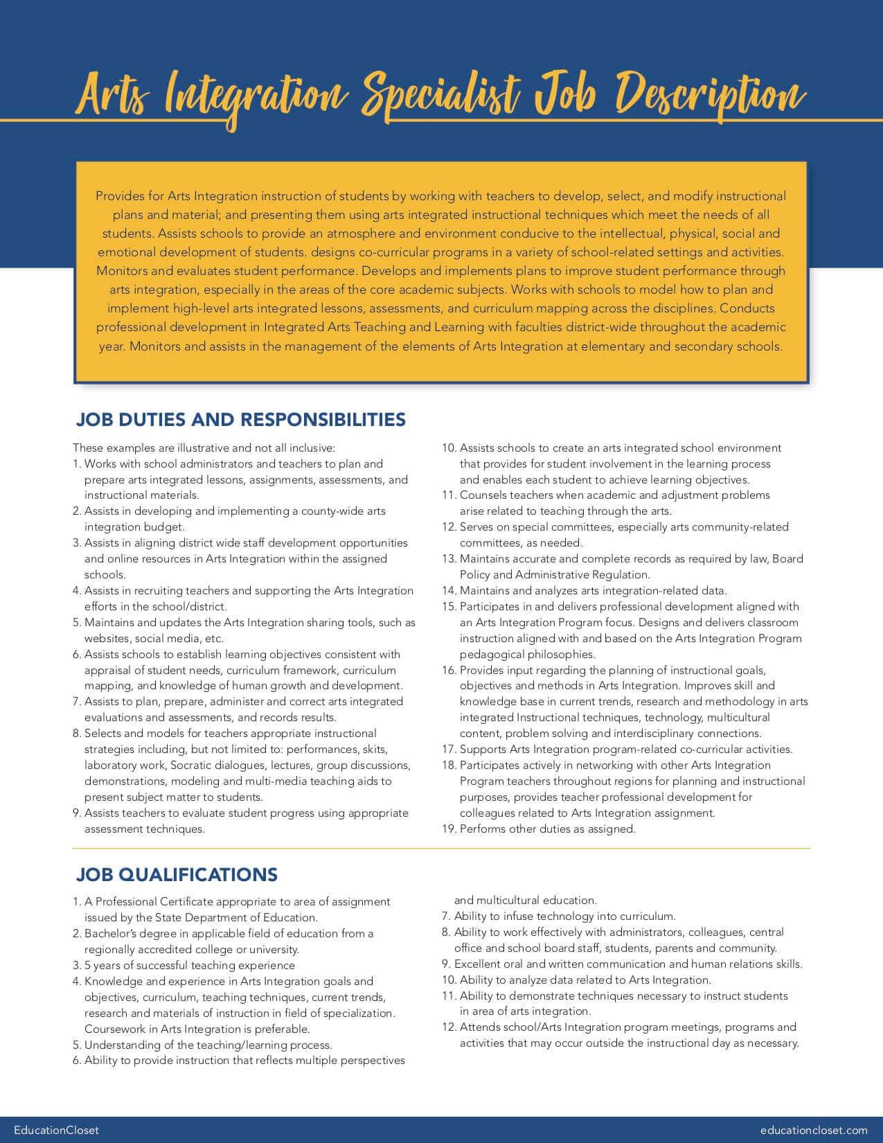 Arts Integration Specialist Job Description