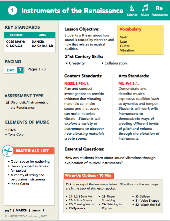 1st grade arts integration lesson sample