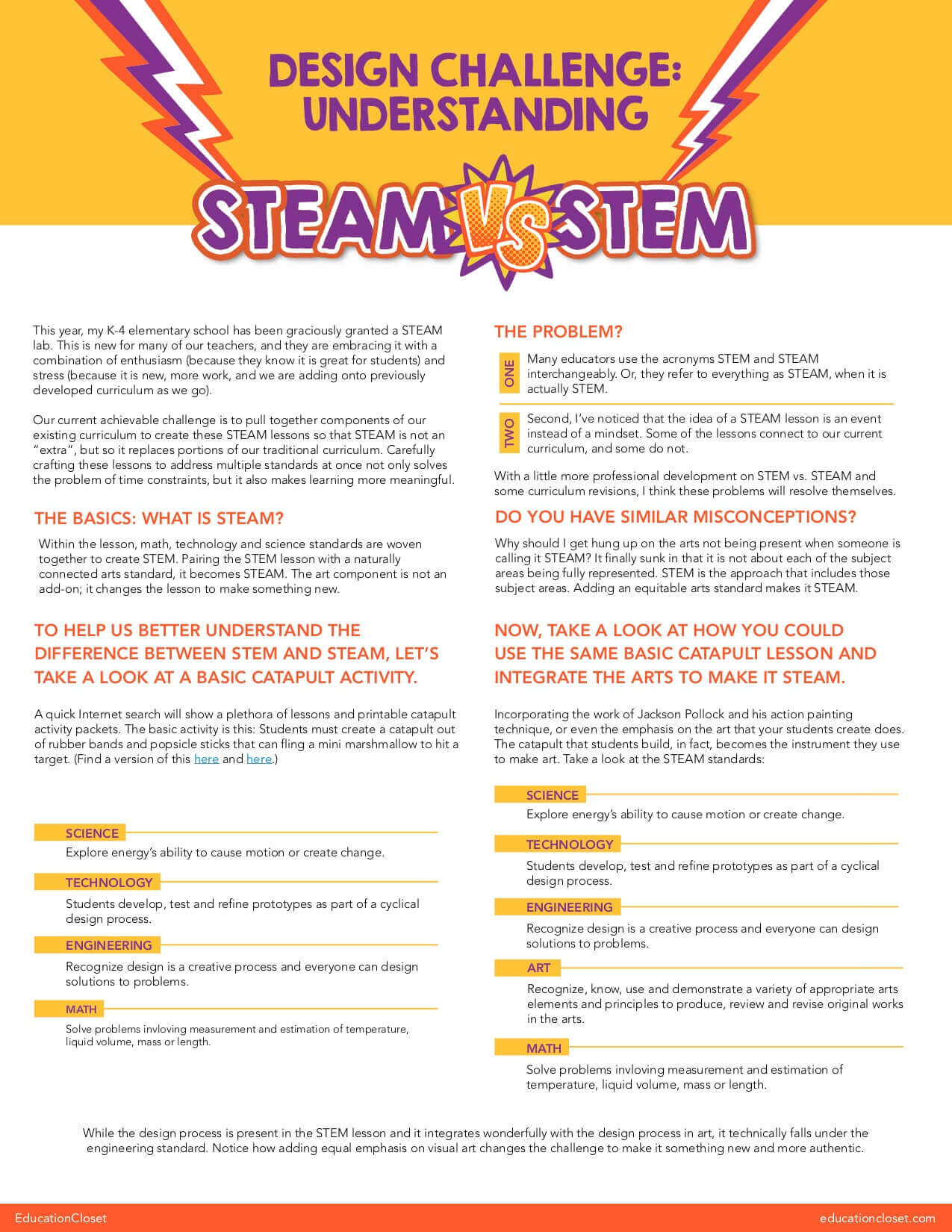 STEM vs. STEAM Design Challenge Resource
