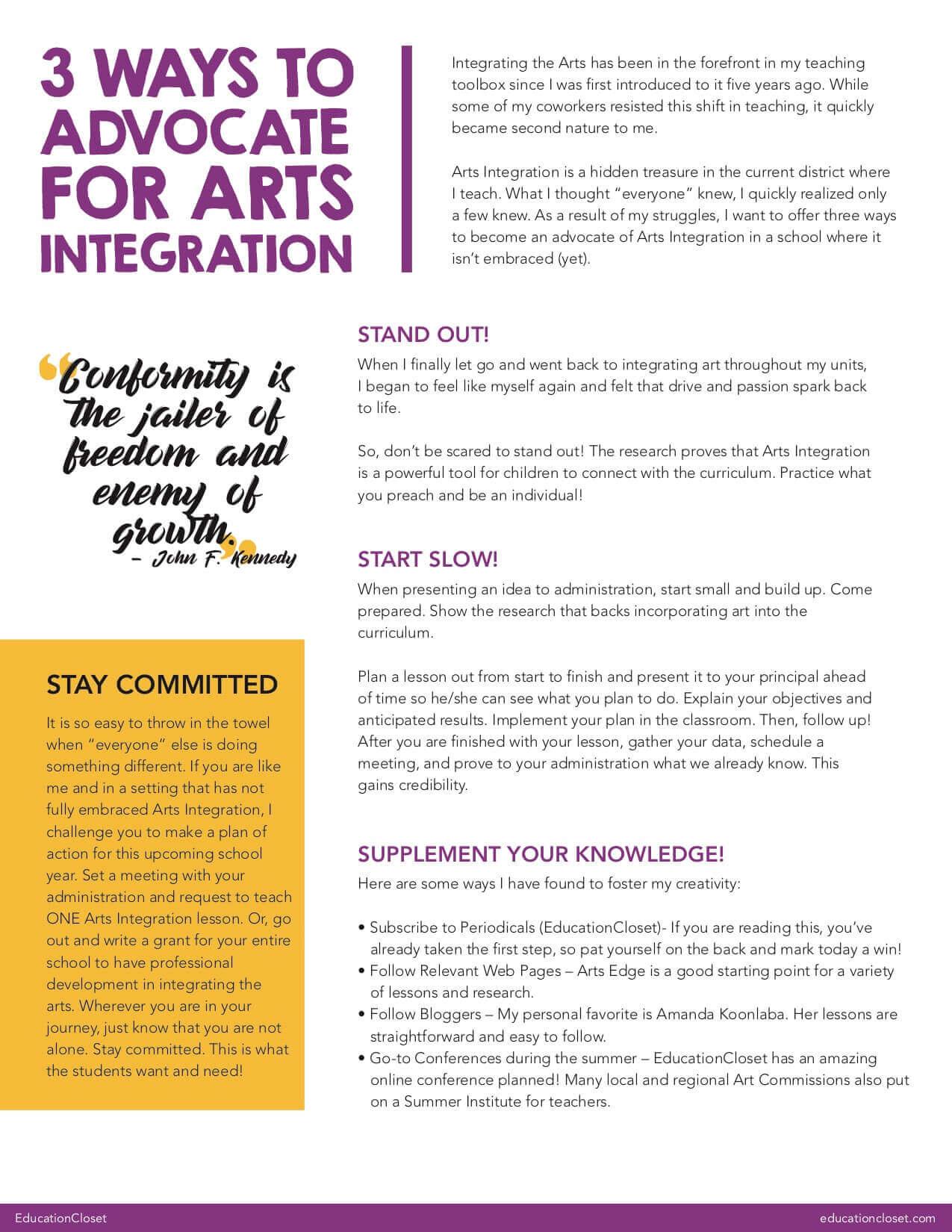 Arts Integration Advocacy Tips