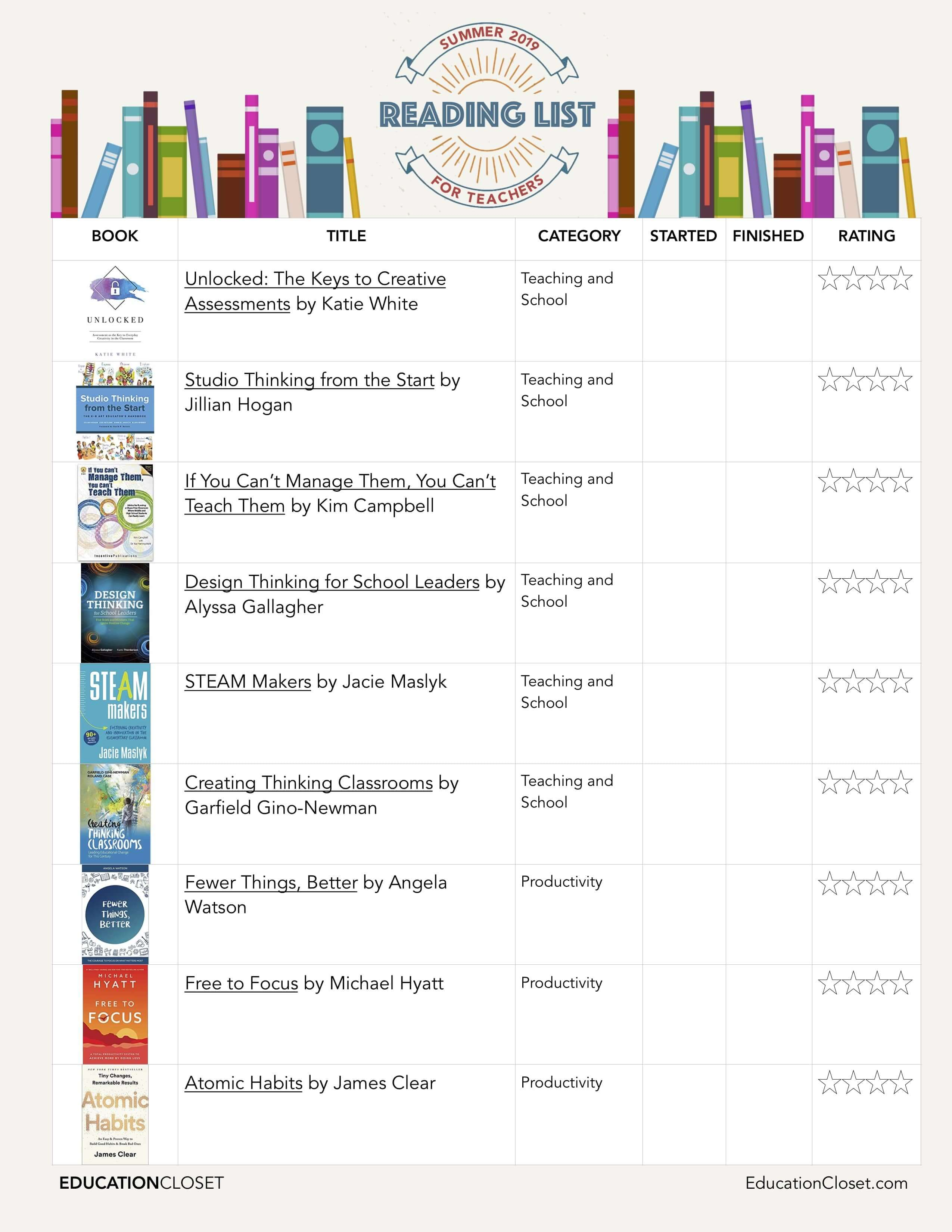 2019 Teacher Reading List