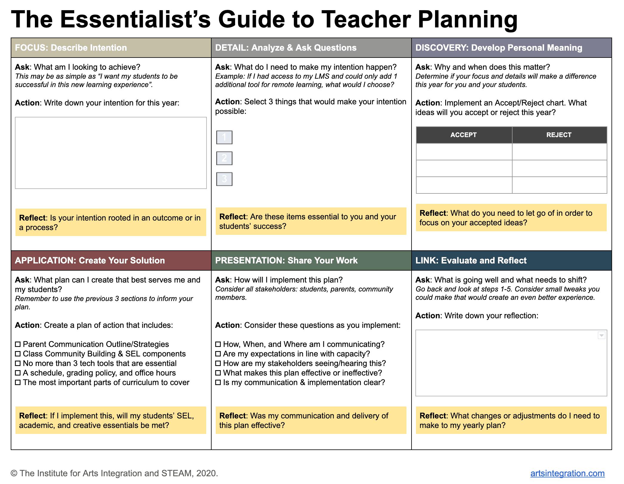 The Essentialist's Guide to Teacher Planning Framework